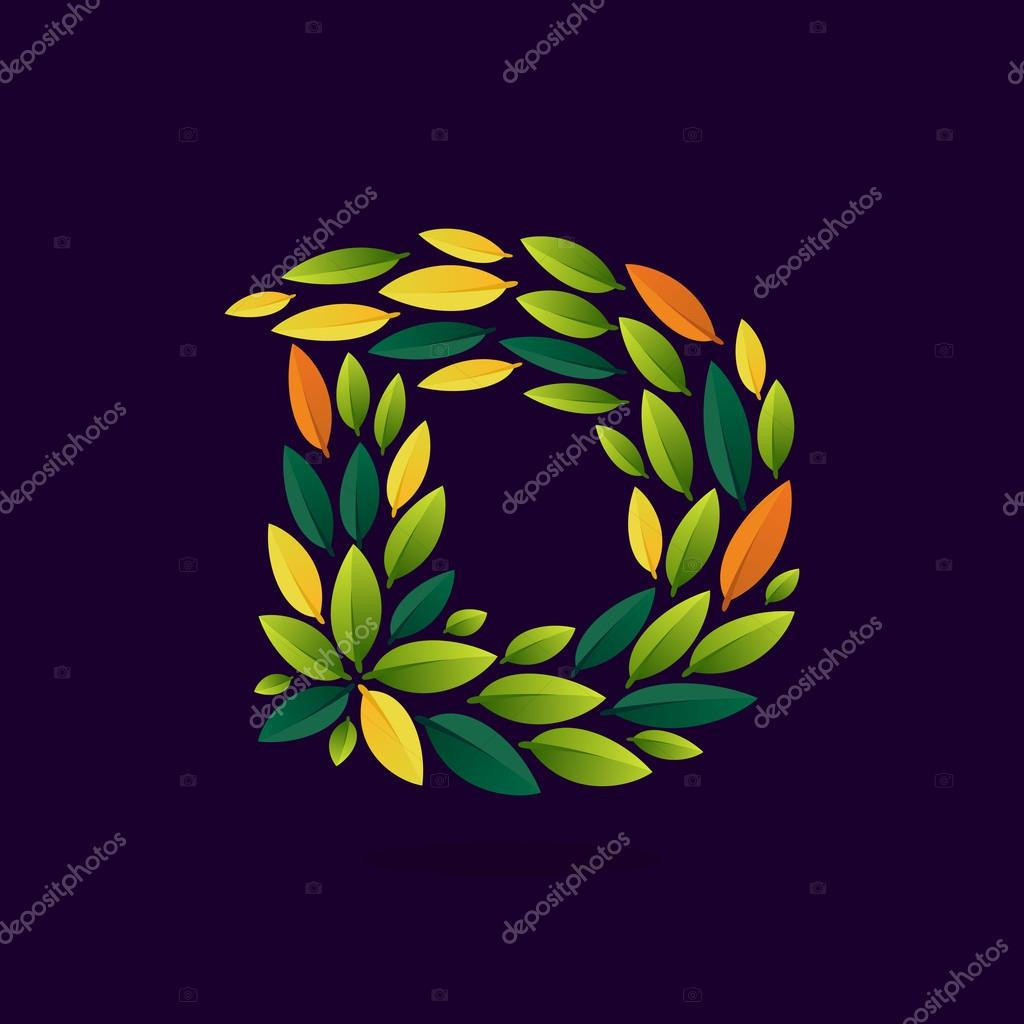 D letter logo formed by green and autumn leaves.