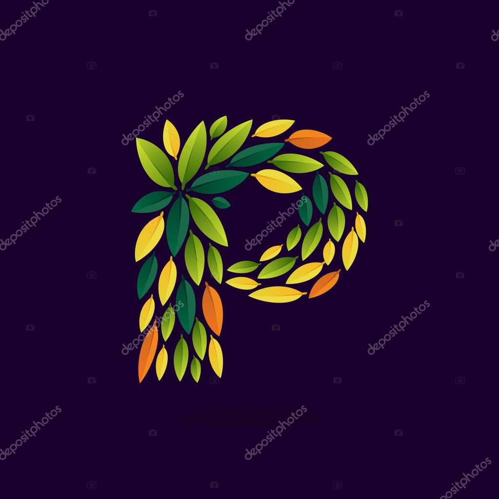 P letter logo formed by green and autumn leaves.