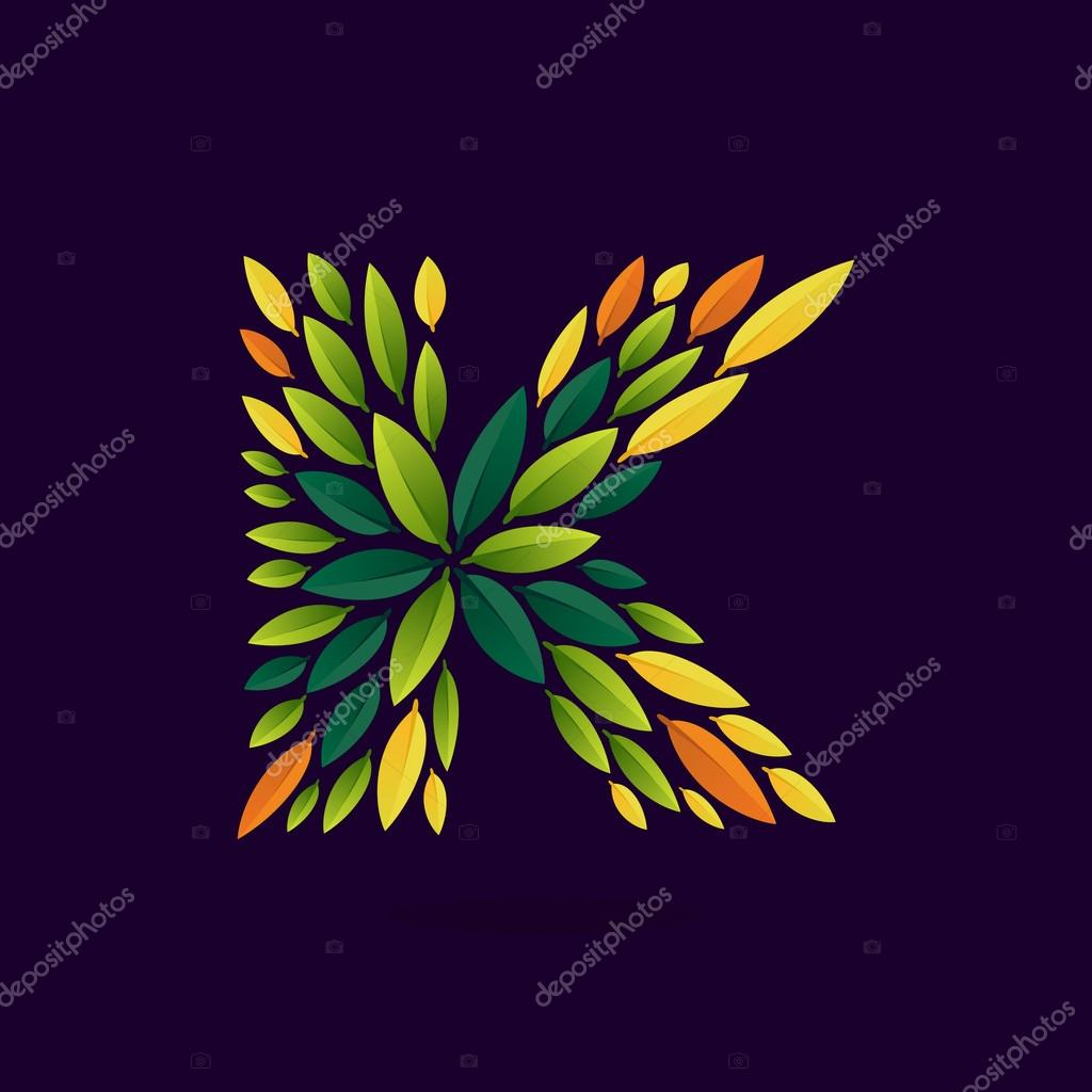 K letter logo formed by green and autumn leaves.