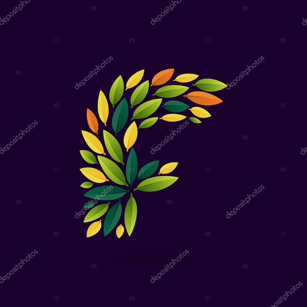 F letter logo formed by green and autumn leaves.