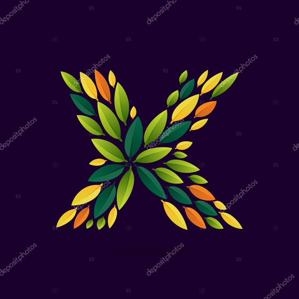 X letter logo formed by green and autumn leaves.