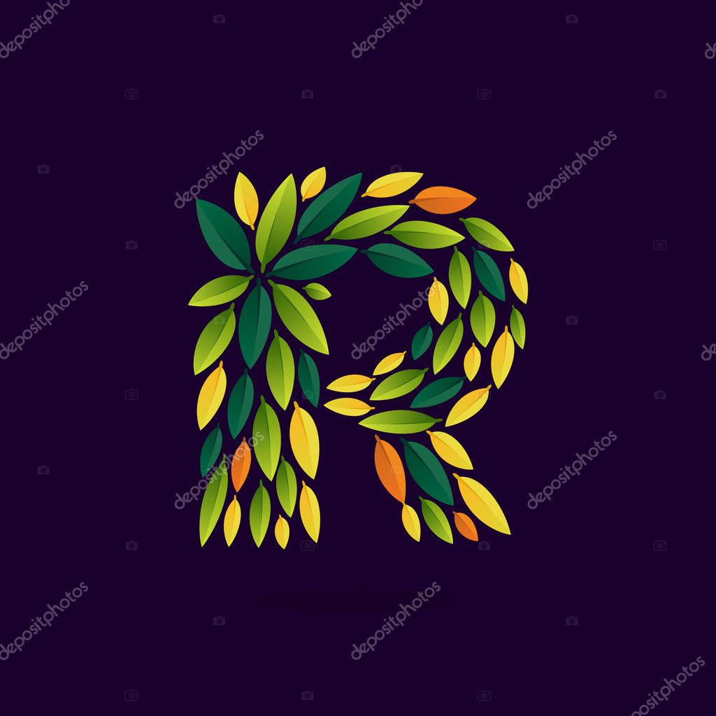 R letter logo formed by green and autumn leaves.