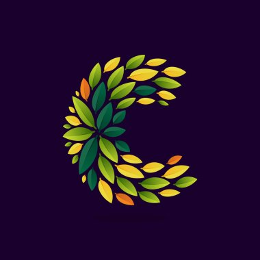 C letter logo formed by green and autumn leaves.