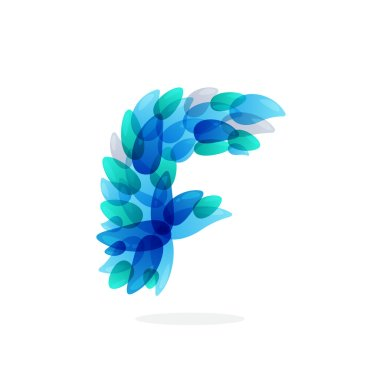 F letter logo formed by blue water splashes.