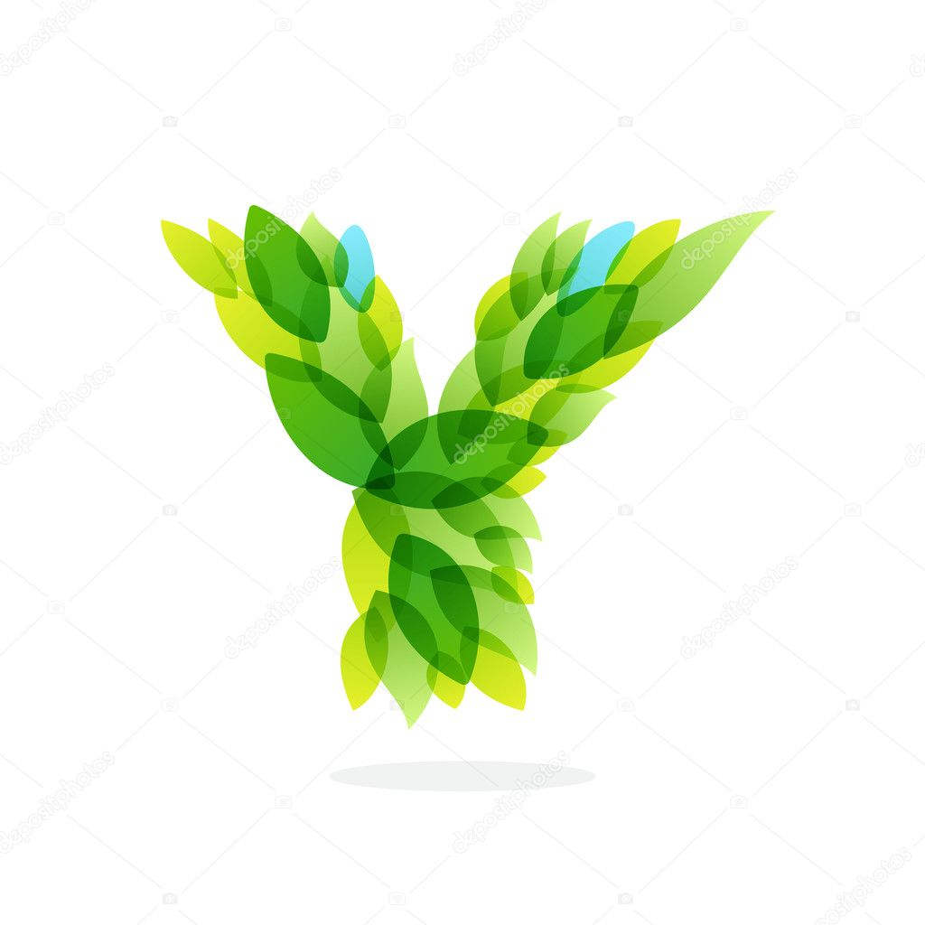 Y letter logo formed by watercolor fresh green leaves.