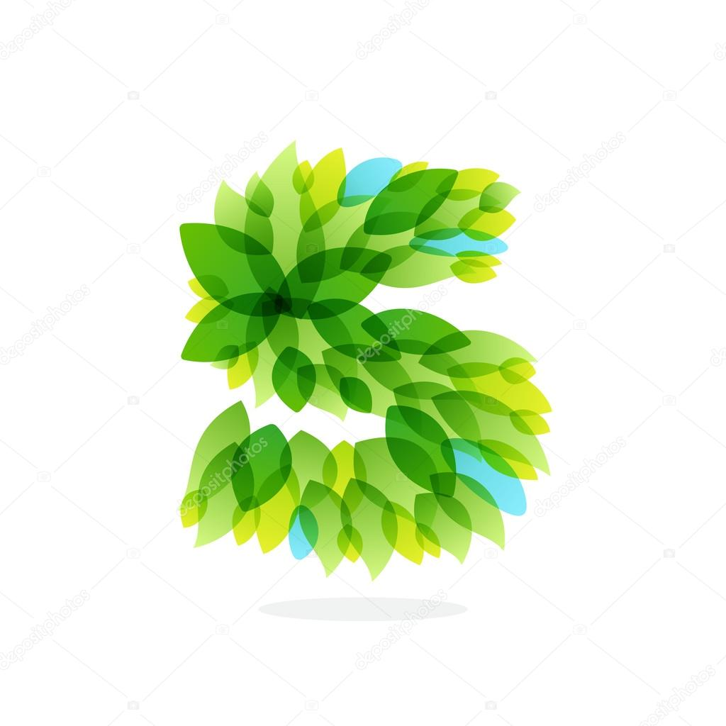 S letter logo formed by watercolor fresh green leaves.