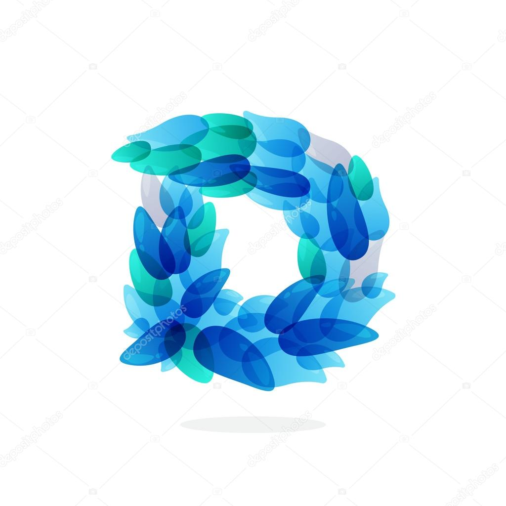 D letter logo formed by blue water splashes.