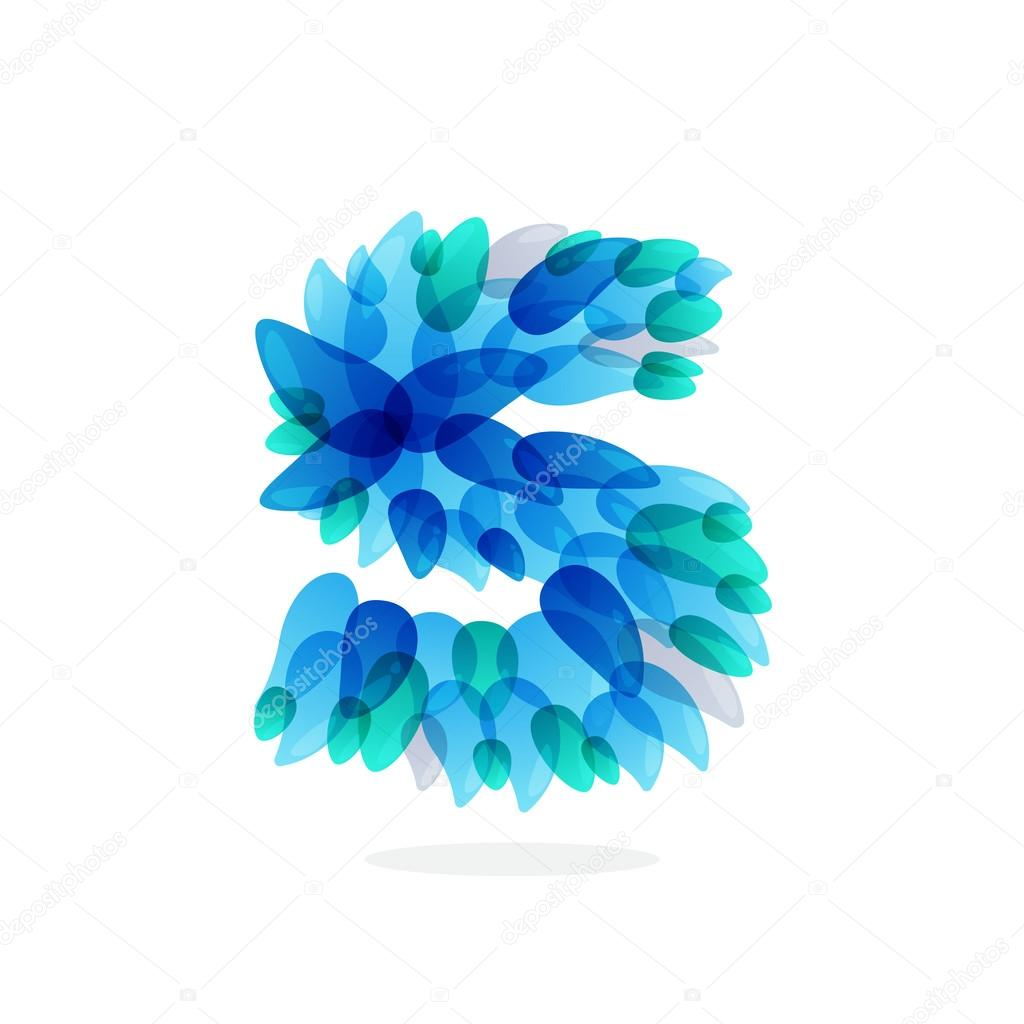 S letter logo formed by blue water splashes.