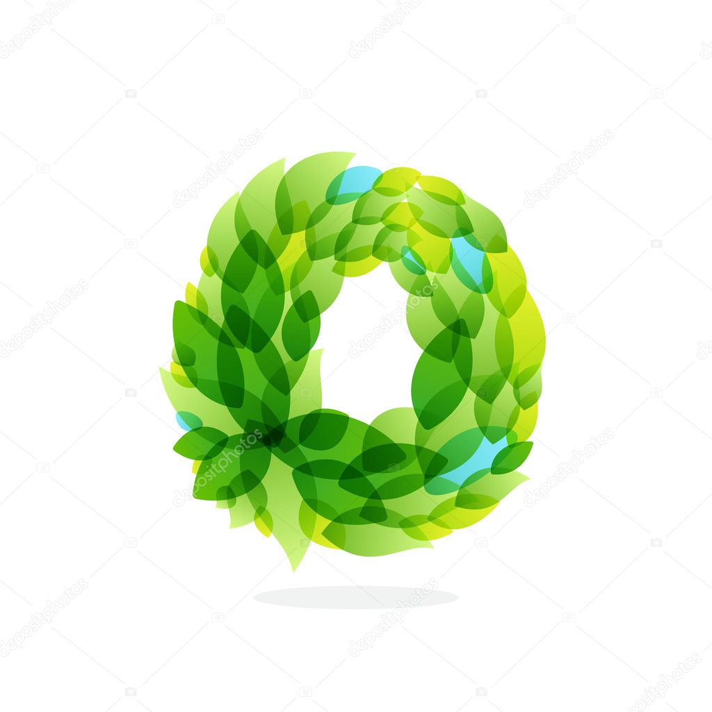 O letter logo formed by watercolor fresh green leaves.