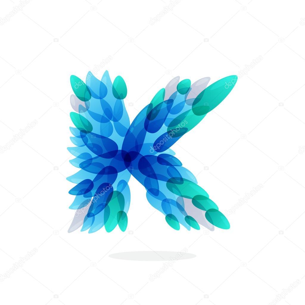 K letter logo formed by blue water splashes.