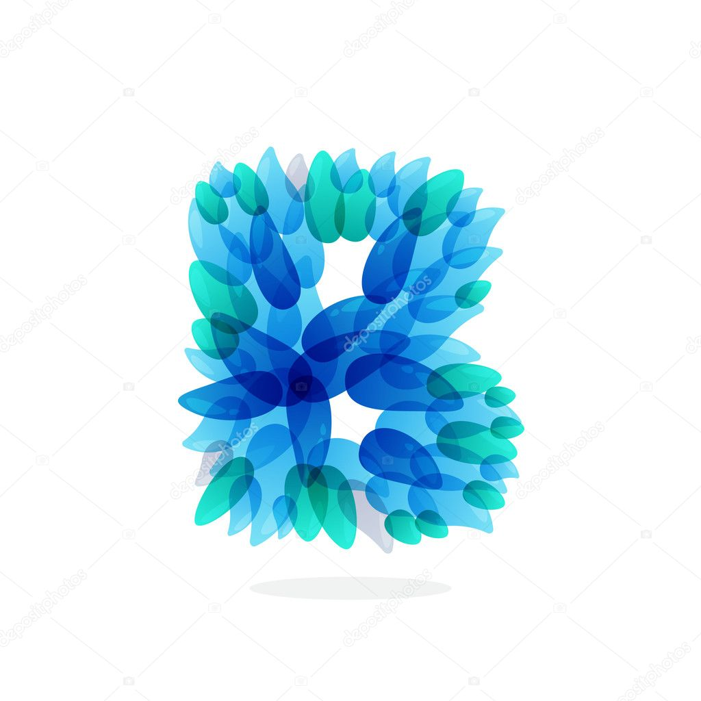 B letter logo formed by blue water splashes.