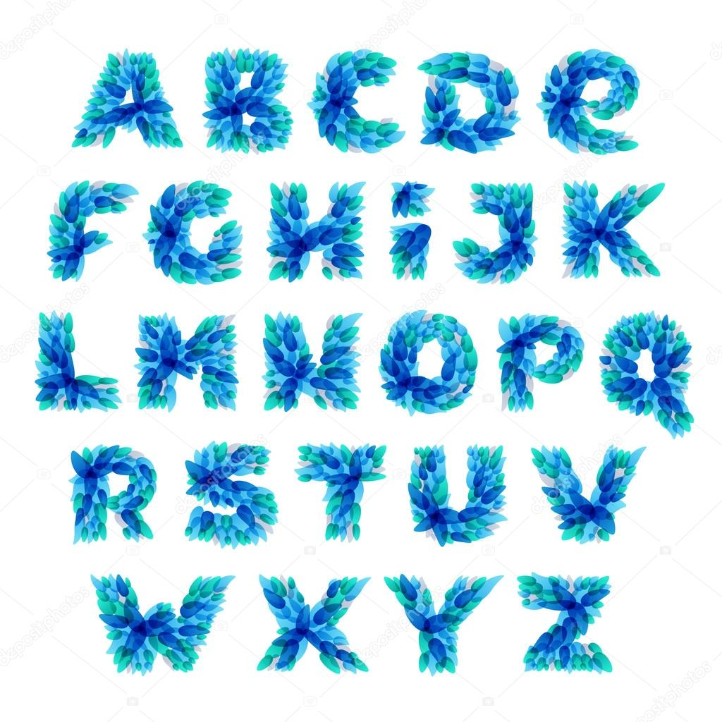 Alphabet logos formed by blue water splashes.