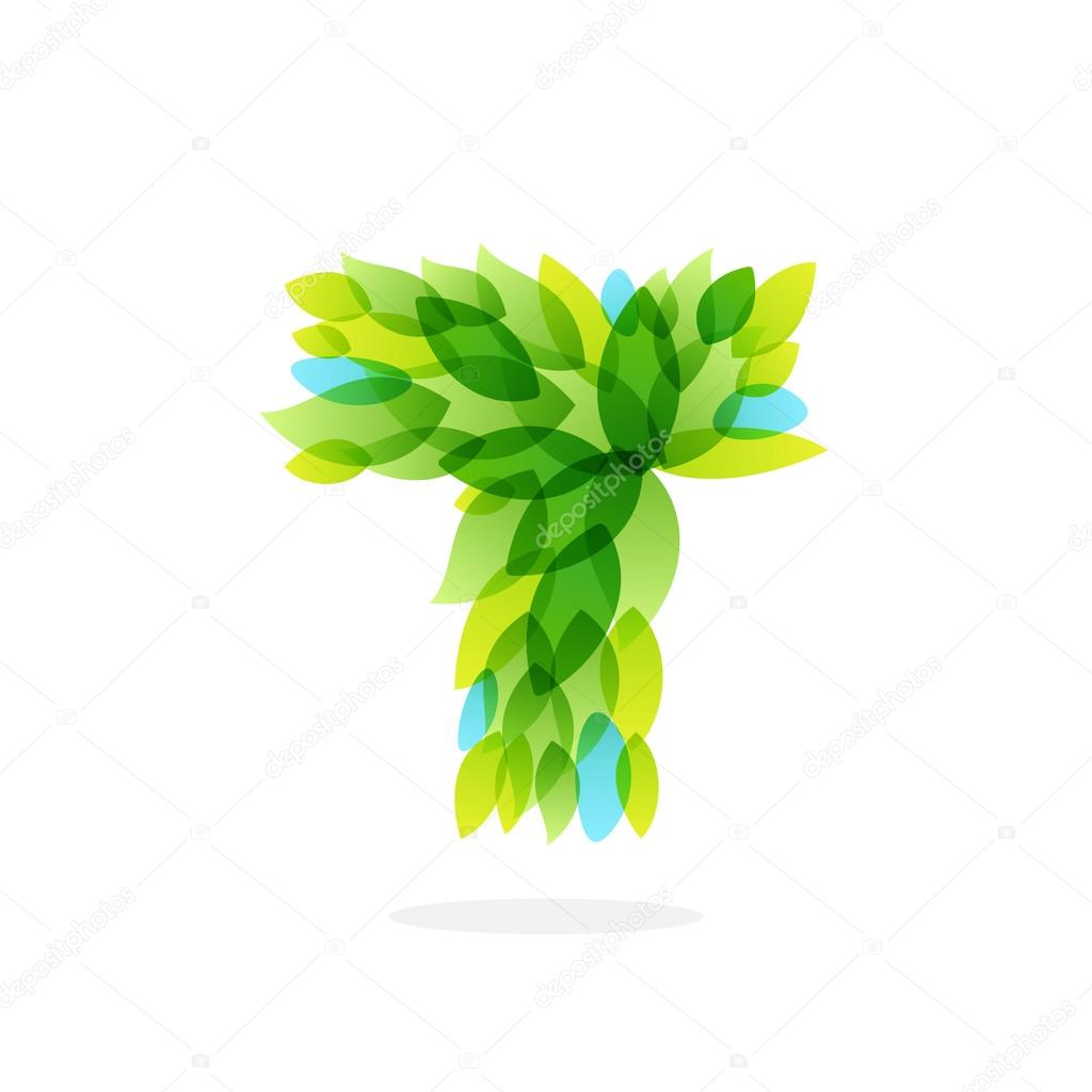 T letter logo formed by watercolor fresh green leaves.