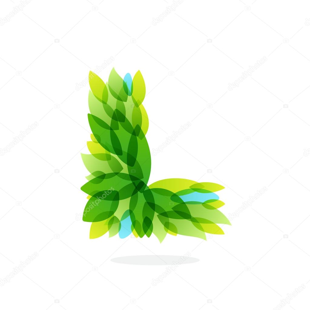 L letter logo formed by watercolor fresh green leaves.