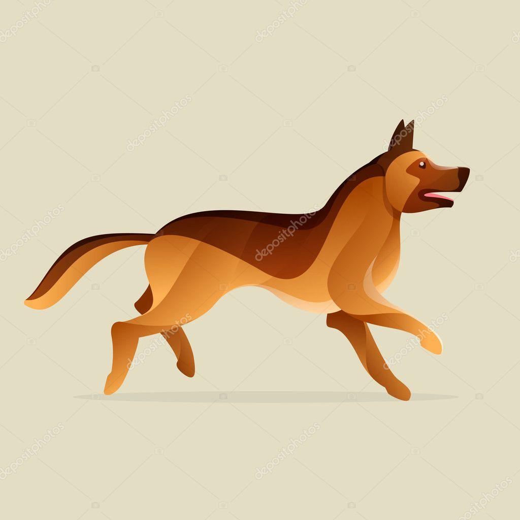 Owczarek Niemiecki Pies Wektor Znak Grafika Wektorowa