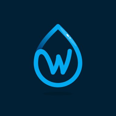 W letter logo in blue water drop.