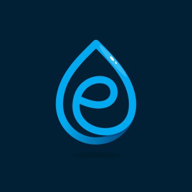 E letter logo in blue water drop.