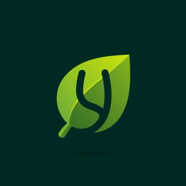 Y letter logo in green leaf.