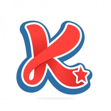 K letter logo with star in vintage baseball style.