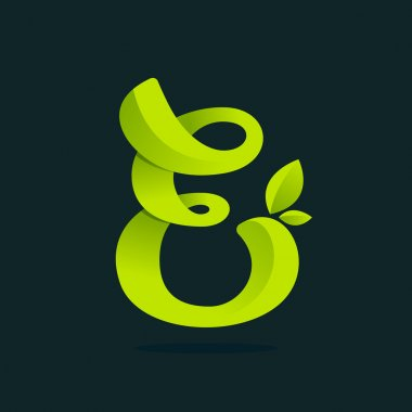 E letter logo with green leaves.
