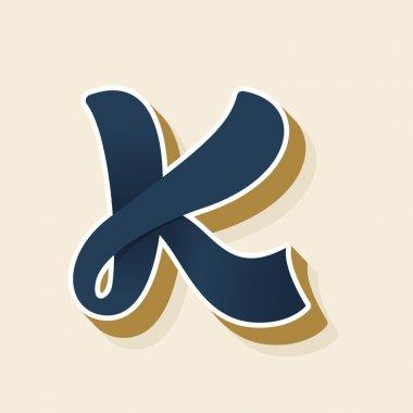 K letter logo in vintage style.