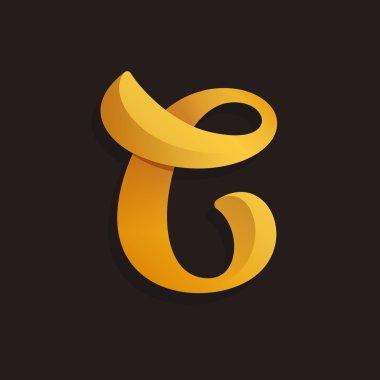C letter logo in golden shining style.