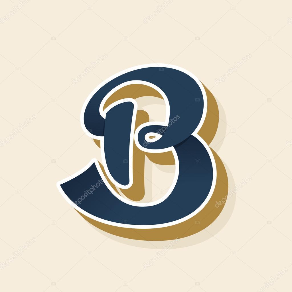 B letter logo in vintage style stock vector kaer dstock 127668136