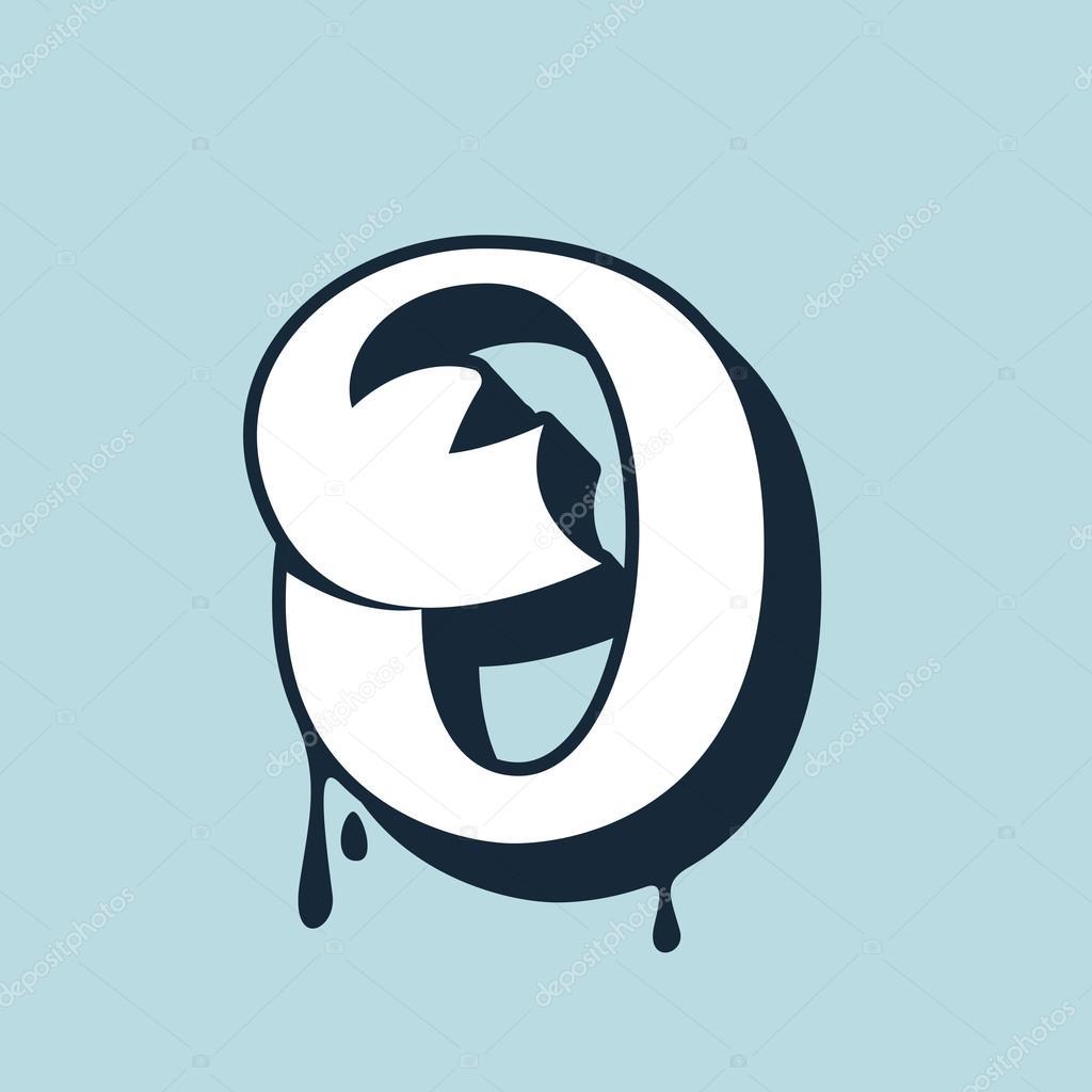O Letter Calligraphy Logo Handwritten Lettering Stock Vector