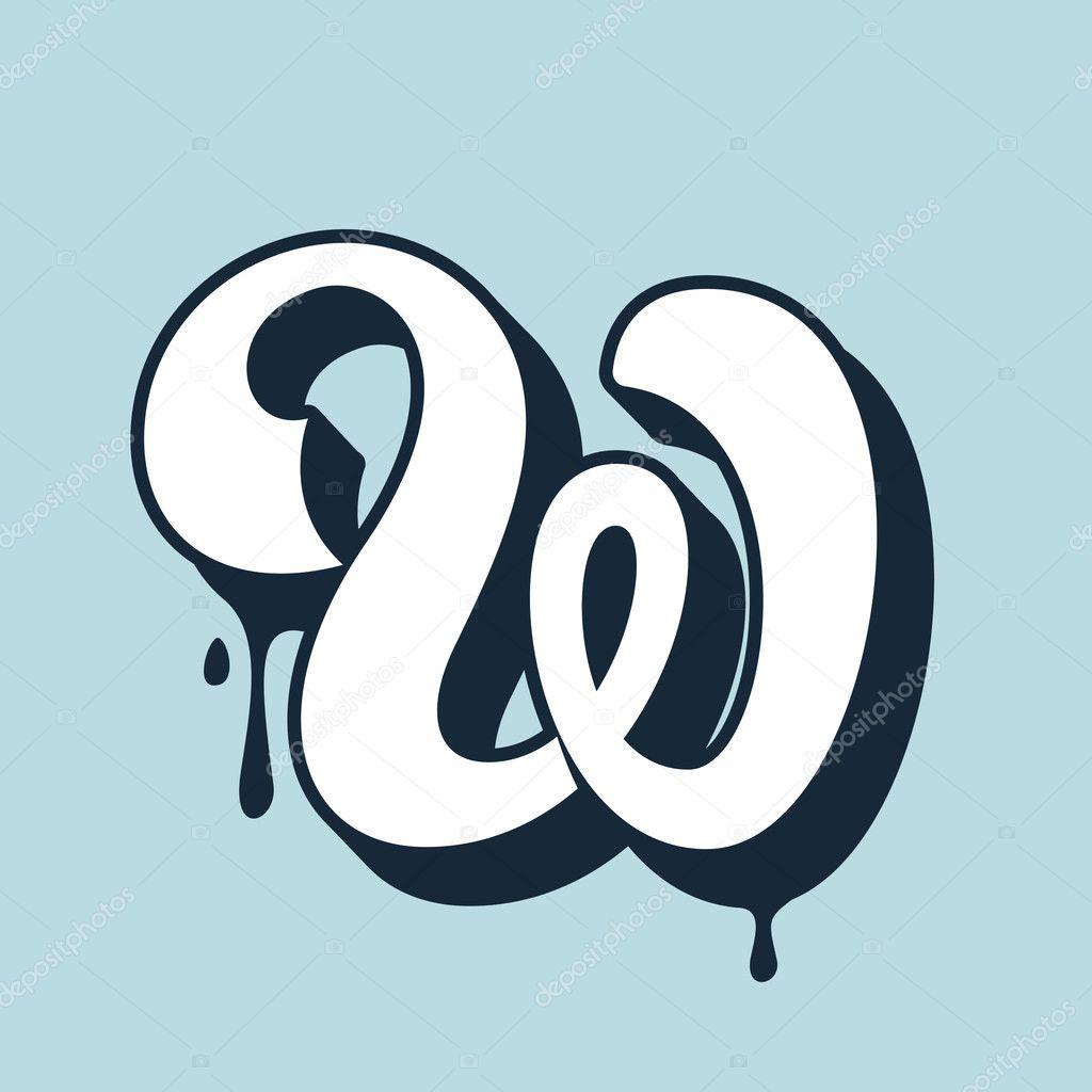 W Letter Calligraphy Logo Handwritten Lettering Stock Vector