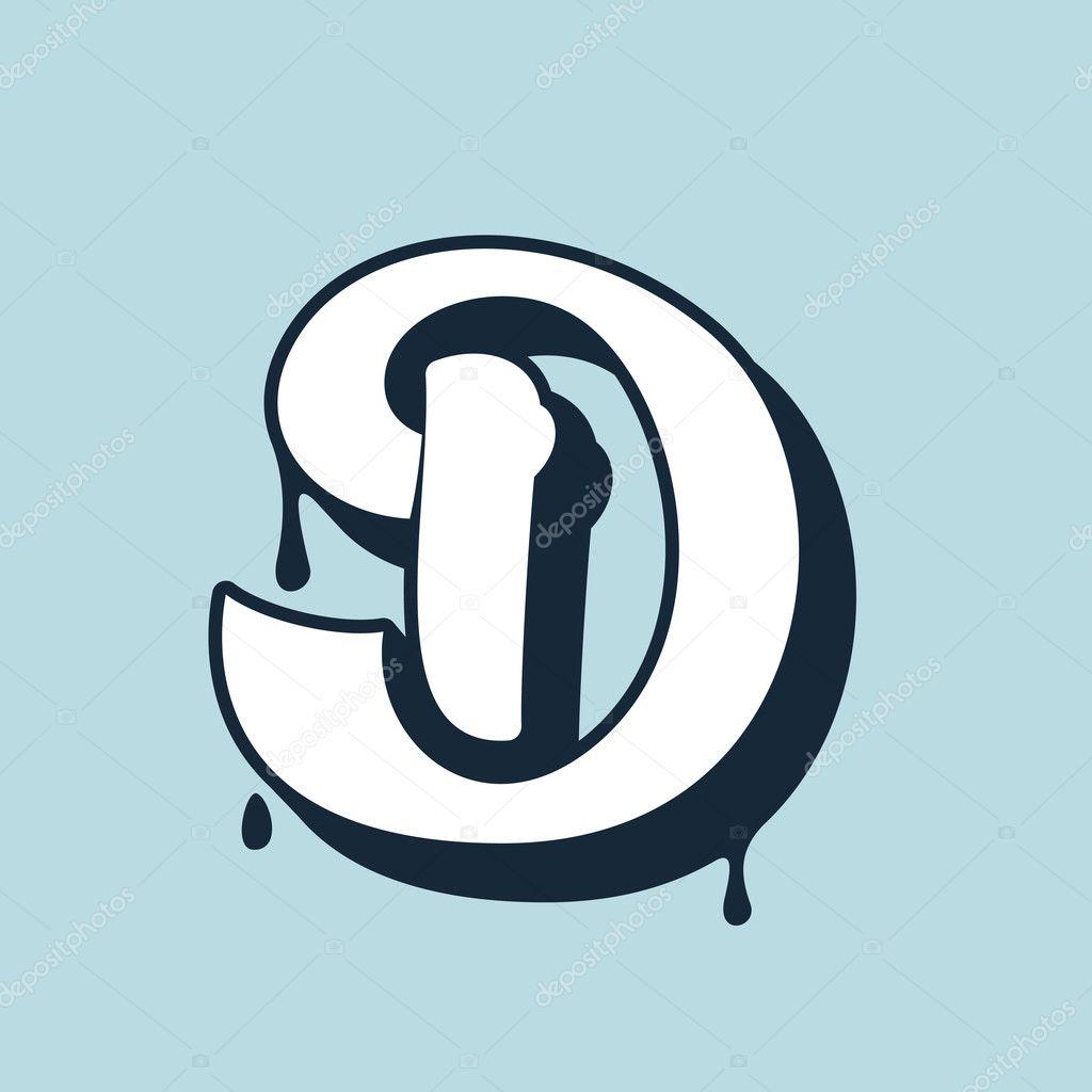 D Letter Calligraphy Logo Handwritten Lettering Stock Vector