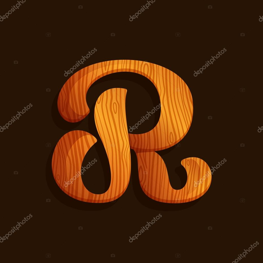 R letter logo with wood texture.