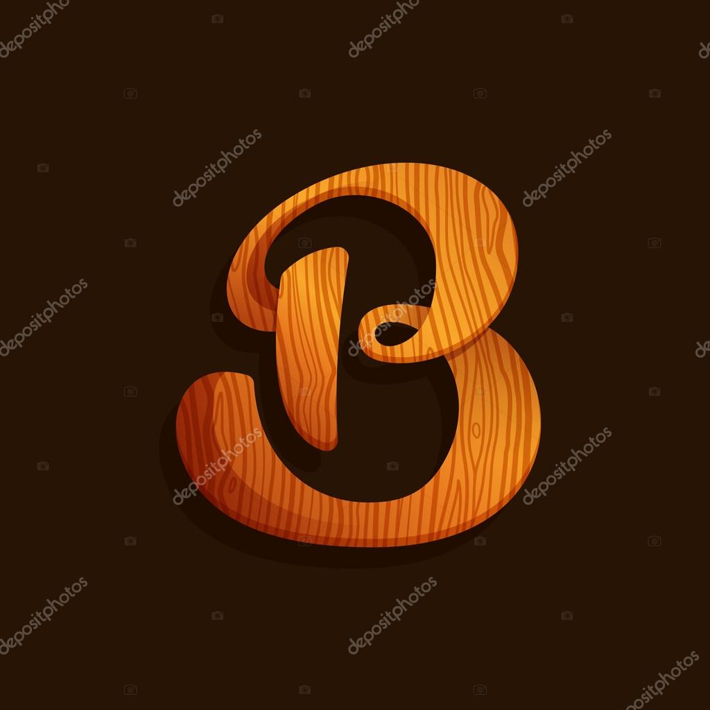 B letter logo with wood texture.