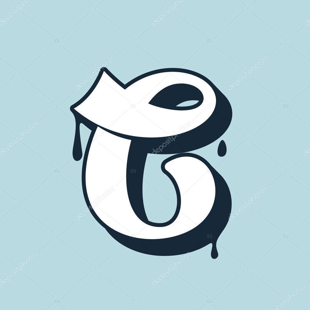C Letter Calligraphy Logo Handwritten Lettering Stock Vector