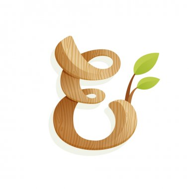 E letter logo with wood texture and green leaves.