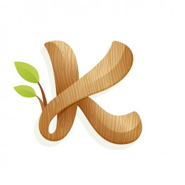 K letter logo with wood texture and green leaves.
