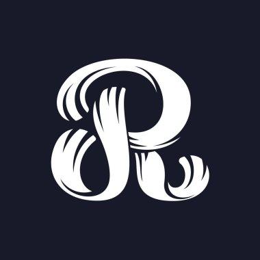 R letter logo script typeface.