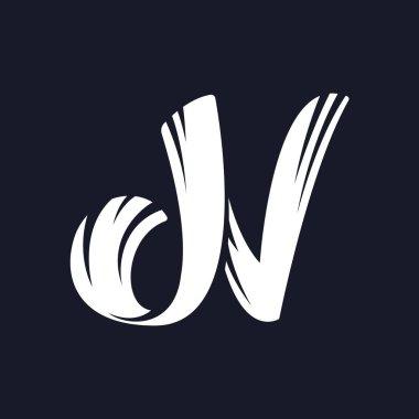 N letter logo script typeface.