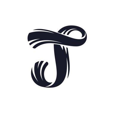 T letter logo script lettering. Vector elegant hand drawn letter