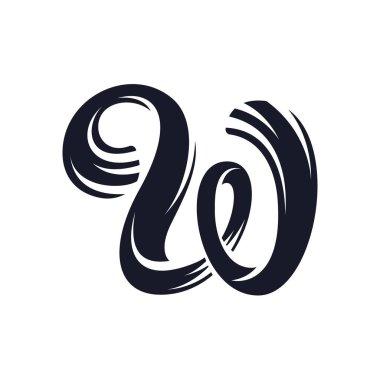 W letter logo script lettering. Vector elegant hand drawn letter