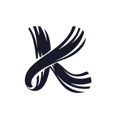 K letter logo script lettering. Vector elegant hand drawn letter