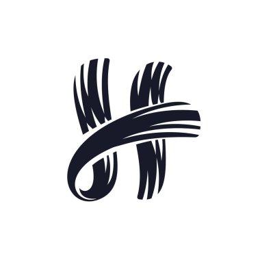 H letter logo script lettering. Vector elegant hand drawn letter