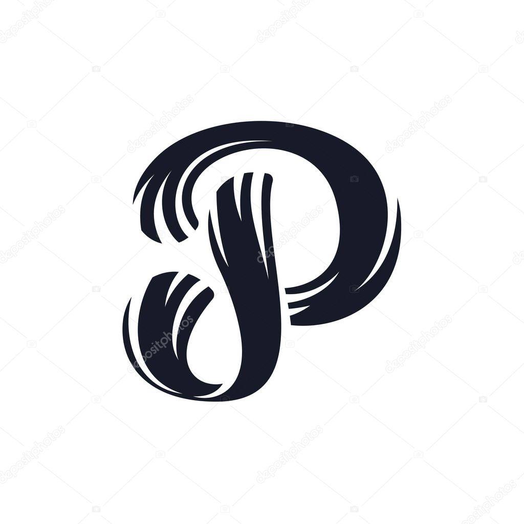 P Letter Logo Script Lettering Vector Elegant Hand Drawn Stock