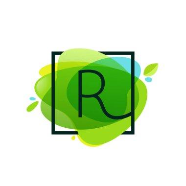 R letter logo in square frame at green watercolor splash backgro