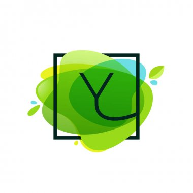 Y letter logo in square frame at green watercolor splash backgro