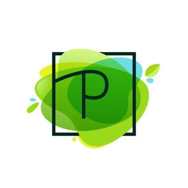 P letter logo in square frame at green watercolor splash backgro