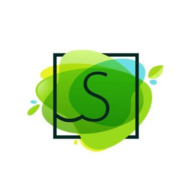 S letter logo in square frame at green watercolor splash backgro