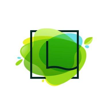 L letter logo in square frame at green watercolor splash backgro