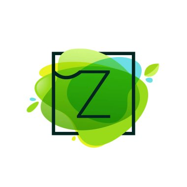 Z letter logo in square frame at green watercolor splash backgro