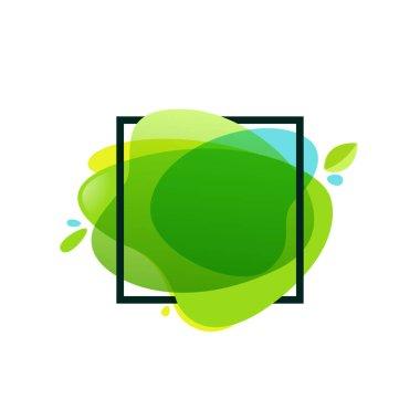 Square frame at green watercolor splash background.