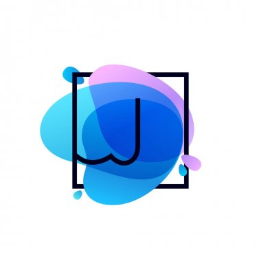J letter logo in square frame at blue watercolor splash